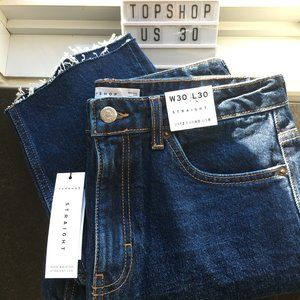 NWT Topshop Dark Wash High Waisted Straight Jeans